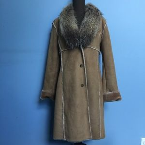 Andrew Marc Jackets & Coats - Andrew Marc Raccoon Fur Collar Faux Suede Coat